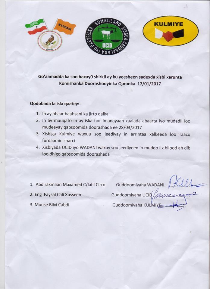 [DEG-DAG/AKHRI:-] Warqad ay Guddoomiyeyaasha Xisbi Qaran Somaliland ay Maanta u Gudbiyeen Komishanka Doorashooyinka