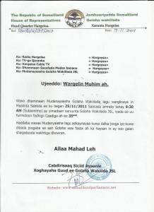 Wakhtiga Uu Furmaayo Fadhiga Golaha Wakiiladda Somaliland Oo La Mudeeya
